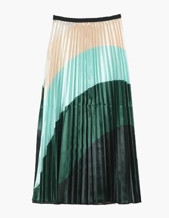 Swirl Print Pleated Skirt