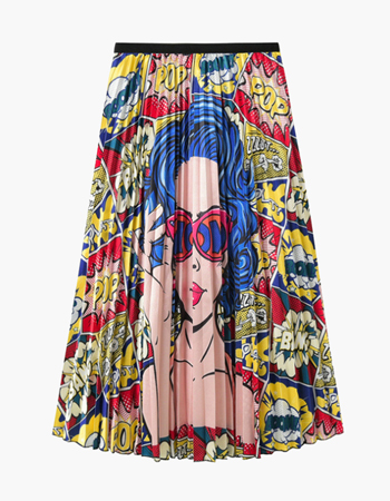 Pop Art Print Pleated Skirt