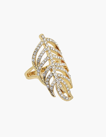 Crystal Feather Ring