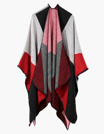 Red Colour Block Shawl