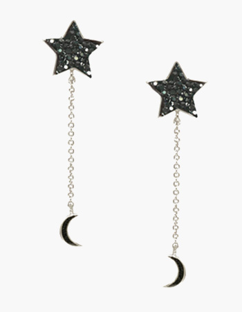 Pewter Crystal Moon and Star Earrings
